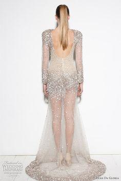 This style (stunning!!) minus the sheer leg area // Leah da Gloria bridal long sleeve wedding dress <3