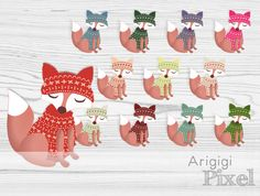 dressed fox clipart  fox in sweater with winter cap winter clip art set of 12 images commercial use digital elements instant download (3.50 USD) by ArigigiPixel