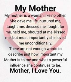 Inspiring Mother Daughter Quotes and Relationship Goals - Mutter Thank You Mom Quotes, Mothers Love Quotes, Love My Parents Quotes, Mom And Dad Quotes, Mom Quotes From Daughter, Happy Mother Day Quotes, Best Mom Quotes, Happy Mothers, Inspirational Mother Daughter Quotes