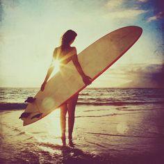Surfer girl photo, with sparkling orange, blue summer sunset, beach, retro, home decor, 8x8 fine art print. Buy one get one free sale.