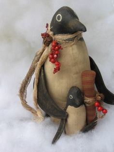 Primitive Penguins pattern -If you love Prim - you will love these two. Pattern can be ordered - check under photo for web site. You still have time to make these two before Christmas ! Christmas Projects, Holiday Crafts, Christmas Crafts, Christmas Ornaments, Christmas Ideas, Fabric Crafts, Sewing Crafts, Sewing Projects, Diy Crafts