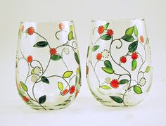 Painted stemless white wine glasses Set of por CreationsdeFlorence