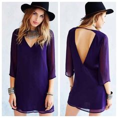 Purple Open Back Sheath Dress Sheer sleeves. Body is lined. Open back deep V. Polyester material. Worn once only for Poshmark's company holiday party! Loose relaxed fit. Dress it up or dress it down! Perfect condition. Brand is ecote and purchased from urban outfitters. Ecote Dresses Mini