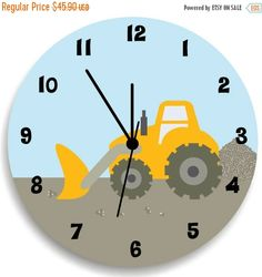 On SALE this week Boys Bedroom Wall Clock, Construction Nursery Room Decor