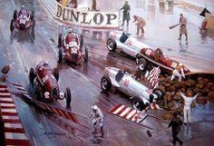 GP MONACO 1936 , Mercedes Benz W25K #10 of Louis Chiron , Mercedes Benz W25 #14 of Manfred Von Brauchtisch and Alfa Romeo 8C-35 #30 of Giuseppe Farina on Tabac disaster , Alfa Romeo 8C-35 #28 of Antonio Brivio , Maserati V8RI #32 of Carlo Felice Trossi.