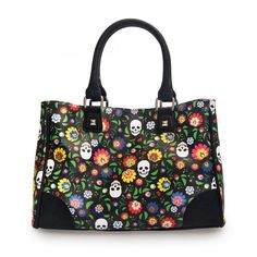 Loungefly Floral & White Skull Print Tote - Loungefly - Brands
