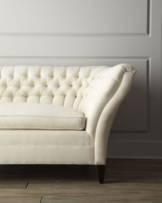 "Old Hickory Tannery ""Ellsworth"" Neutral Tufted-Curve Sofa - Horchow"