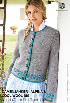 Kostenlose Anleitung für eine traditionelle Damenjanker mit Zierleiste, bayerische Mode / Bavarian fashion: free knitting pattern for a knitted cardigan via lanagrossa.de