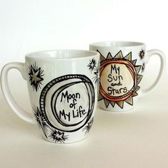 Obsessed with these mugs!Game of Thrones - Sun Moon Stars Ceramic Love Mug Set Hand Painted Khal Khaleesi Metallic Silver Gold Hearts Arrows Customize Personalize GoT Sun Moon Stars, My Sun And Stars, Crackpot Café, Khal And Khaleesi, You Are My Moon, Heart With Arrow, Cute Mugs, Cute Tea Cups, Funny Mugs