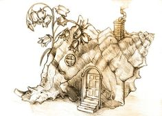 Fantasy themed Shell House drawing - drawn during a class taught by Paul Kidby