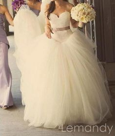 classy strapless sweetheart princess lace and tulle wedding gown. $289.00, via Etsy.