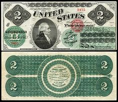 United States two-dollar bill Thomas Jefferson, Dollar Bill Origami, Dollar Money, Two Dollars, Euro Coins, Vintage Typography, Note Paper, United States, Design Inspiration