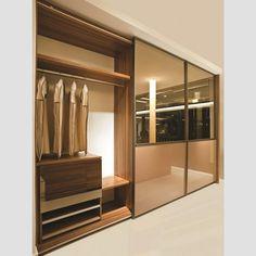 Armário Porta Deslizante Laqueado Fendi e Espelho Laqueado