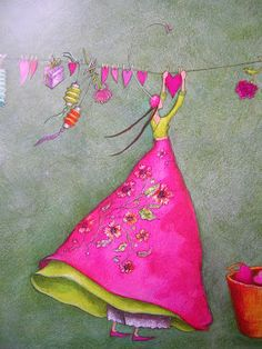 """Hearts on the Line"" Gaelle Boissonnard would be good for quilt appliqué Art Fantaisiste, Art Carte, Heart Art, Whimsical Art, Medium Art, Love Art, Pretty In Pink, Pink And Green, Illustration Art"