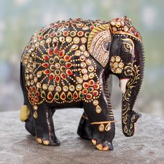 Bejeweled Black Elephant Hand Crafted Sculpture from India - Majestic Indian Elephant Indian Elephant, Elephant Love, Elephant Artwork, Elephant Stuff, White Elephant, Elephant Gifts, Elephant Sculpture, Wood Sculpture, Elefante Hindu