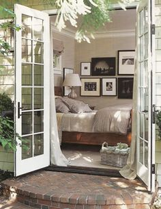I would love a bedroom with French doors that open to a little private garden space. Once our lives regulate a little we have plans to turn our master bedroom's double windows into French doors that lead into the back yard. French Doors Bedroom, French Door Curtains, French Country Bedrooms, French Doors Patio, Patio Doors, French Patio, Cottage Curtains, Entrance Doors, Front Doors