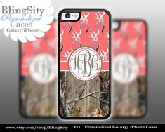 Monogram Iphone 5C case Browning iPhone 5s iPhone 4 case Ipod 4 5 Touch case Real Tree Camo Coral Personalized Country Girl by BlingSity, $13.95