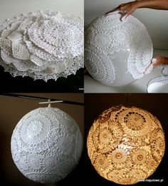 Several crochet napkins, glue and a big balloon. A few hours and amazing lamp ready.