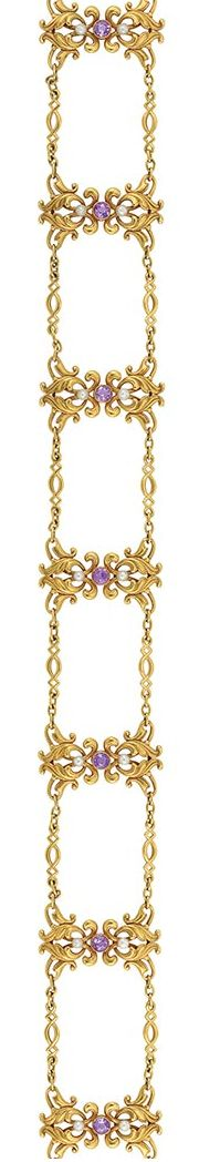 Antique Gold, Amethyst and Seed Pearl Choker Necklace   14 kt., composed of eight gold plaques of scrolled ribbon motif, centering 8 round amethysts flanked by 16 seed pearls, joined by fancy-shaped links, circa 1900, approximately 22.3 dwts. Length 13 3/4 inches.
