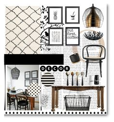"""Black, White & Wood"" by grapecrush ❤ liked on Polyvore featuring interior, interiors, interior design, home, home decor, interior decorating, Kalora, Foscarini, Stanley Furniture and Malden International Designs"