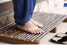 Black bamboo entrance mat