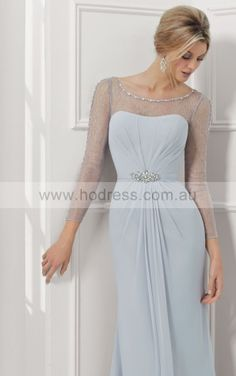 Floor-length Long Sleeves Chiffon A-line Ivory Evening Dresses afaa1007--Hodress
