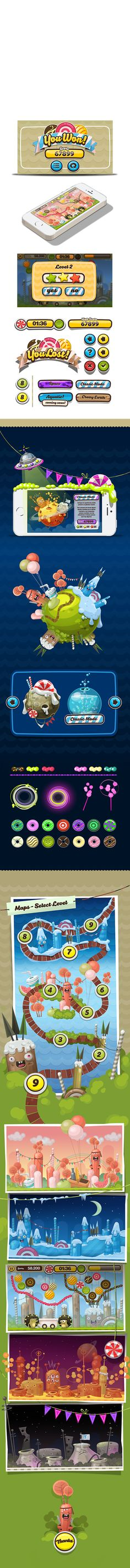Feed the Twins. Mobile Game by Gabriel Mourelle, via Behance