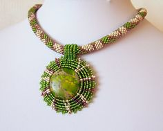 Bead Embroidery Pendant Necklace with Green Sea Sediment by lutita, $80.00