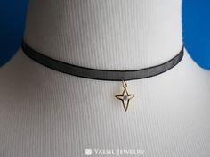 Sheer Ribbon Choker Cross Choker Black Ribbon by YaesilJewelry