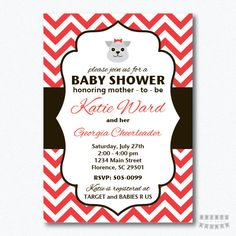 PRINTABLE Chevron Georgia Bulldogs Baby Shower Girl Invitation