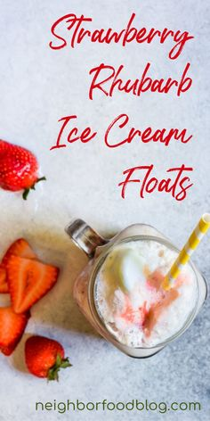 These sweet, tart, and creamy Strawberry Rhubarb Floats are the perfect frozen companion on a hot day. Shake Recipes, Pudding Recipes, Tea Recipes, Coffee Recipes, Easy Dinner Recipes, Smoothie Recipes, Sweet Recipes, Easy Meals, Frozen Desserts