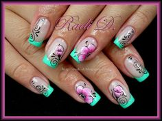 French, Flowers, Swirls by RadiD - Nail Art Gallery nailartgallery. Wow Nails, Cute Nails, Pretty Nails, Trendy Nail Art, Cool Nail Art, Fabulous Nails, Gorgeous Nails, Fingernail Designs, Nail Art Designs