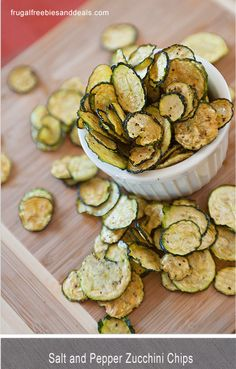 Salt and Pepper Zucchini Chips - looks like a great snack ... could even add a little cayenne pepper for some heat