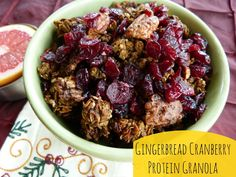 Gingerbread Cranberry Protein Granola Recipe | Great way to start off the day, boosted with #proteinpowder to help build lean muscle and curb between meal hunger #thefitfork |  thefitfork.com