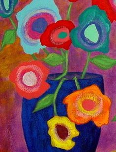 Modern Folk Art FLOWERS in Vases Original by johnblakefolkartist