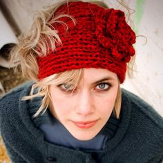 Fashion Autumn Winter Woolen Flower Headband Knitted Crochet Earmuff Warm Turban Hair Band Headwrap For Women Adult Knit Headband Pattern, Knitted Headband, Knitted Hats, Red Headband, Crochet Headbands, Beanie Pattern, Bonnet Crochet, Knit Crochet, Crochet Hats