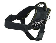 DT Fun Works Harness, Working Dog Do Not Pet, Black With Yellow Trim, X-Small - Fits Girth Size: 20-Inch to 23-Inch -- Continue to the product at the image link. (This is an affiliate link and I receive a commission for the sales)