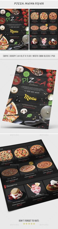 Buy Pizza Menu Flyer by Yoopiart on GraphicRiver. with bleeds DPI Very Easy to Customize Well Organiz. Restaurant Menu Template, Restaurant Flyer, Restaurant Design, Pizza Flyer, Menu Flyer, Pizza Menu Design, Sample Flyers, Cafe Menu, Graphic Design Print