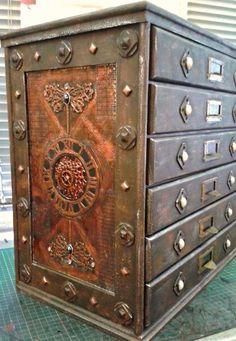 Copper n rust Steampunk drawer chest
