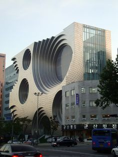Seoul. This ought to be a record company or Sony headquarters or something. It looks like a giant speaker. :)
