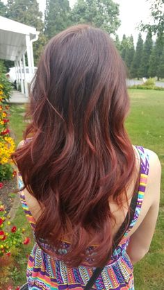 Dark brown hair with red ombre
