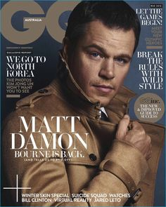 Matt Damon Would Pick Jason Bourne Over James Bond Any DaySo Lets Compare These Two Famous Spies E! Online Matt Damon Would Pick Jason Bourne Over James Bond Any DaySo Lets Compare These Two Famous Spies by Maya Eliahou Matt Damon, Jason Bourne, Gq Magazine Covers, Gq Australia, Cover Boy, Gq Men, Cover Style, Gq Style, Magazine Articles