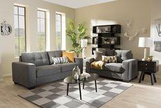 Baxton Studio Westerlund Shadow Gray Upholstered 2-piece Loveseat & Sofa Livingroom Set