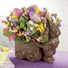 Easter Bunny with Wagon Flower Arrangement