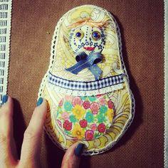 OOAK Matryoshka Babushka russian art doll set of 2 by PninaDesign