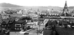 Panorama of the 1915 Panama Pacific International Exposition; Palace of Fine Arts (still standing) is on the left; the tall structure on the right is the Tower of Jewels.