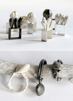 Sculptural Jewellery - botanical rings - little wearable sculptures; contemporary jewellery design inspired by natural form // Ramjul Contemporary Jewellery, Modern Jewelry, Jewelry Art, Jewelry Rings, Jewelry Design, Jewellery Box, Geek Jewelry, Jewellery Shops, Designer Jewelry
