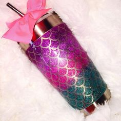 New mermaid glitter yeti ramblers choose the size scale design that you want and the cup size you want! Choose whether you want a solid color or an ombre color… Mermaid Kisses, Mermaid Glitter, Parfait, Cup Design, Scale Design, Glitter Cups, Glitter Gif, Unicorns And Mermaids, Yeti Cup
