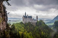 Neuschwanstein Castle - Neuschwanstein Castle, Bavaria, Germany. Taken from St. Mary's bridge.