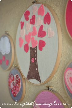 Valentine's Day Tree embroidery hoop art #valentine #craft